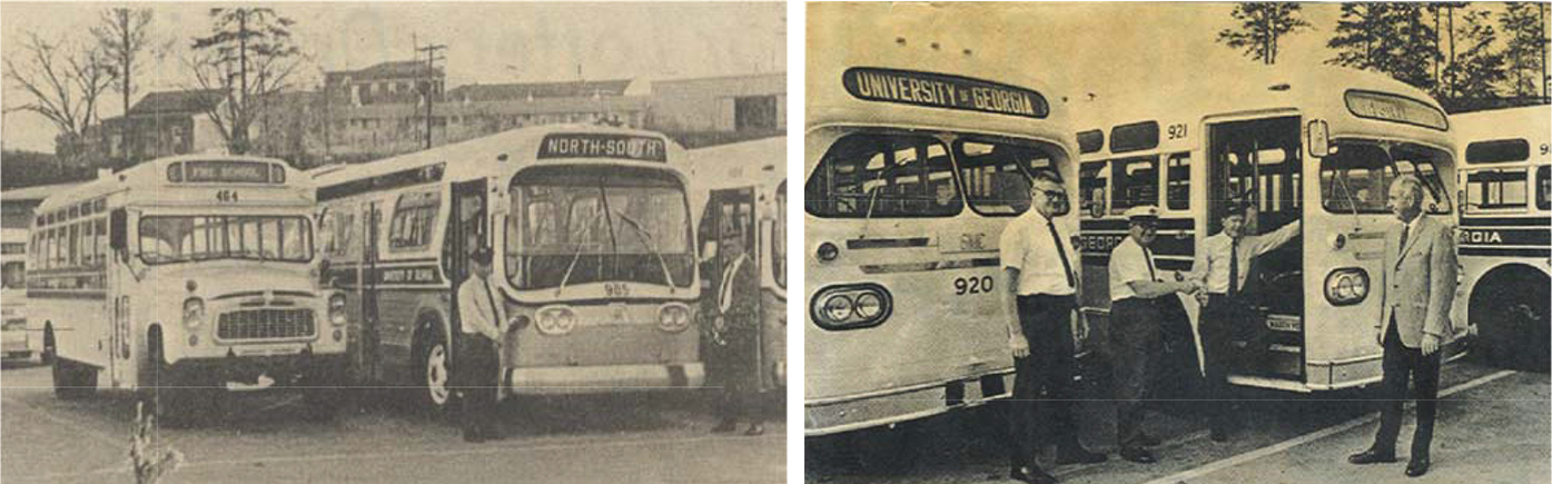 Two photos of old UGA buses.