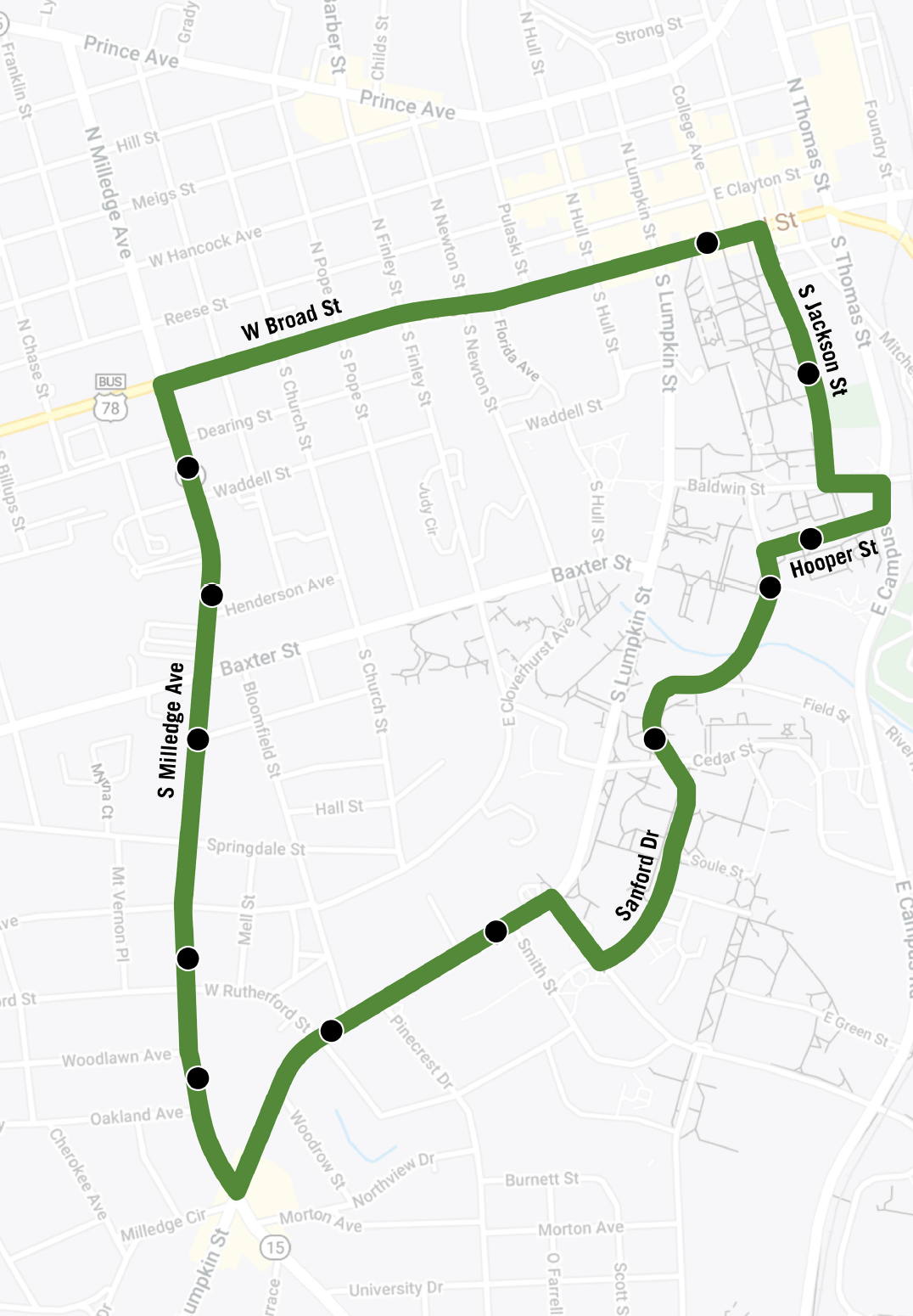 Map of Milledge Avenue route.