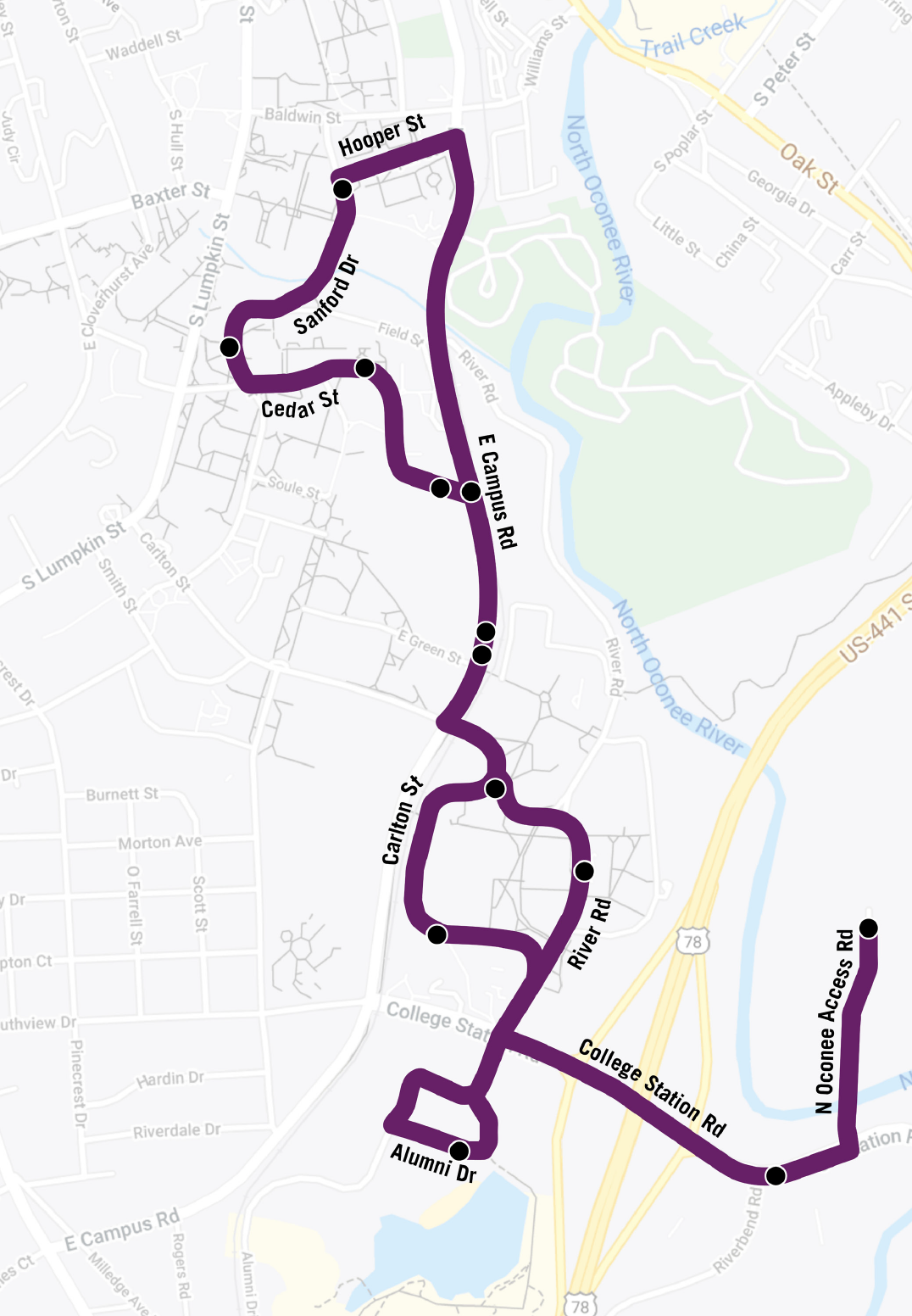 Map of Park & Ride route.