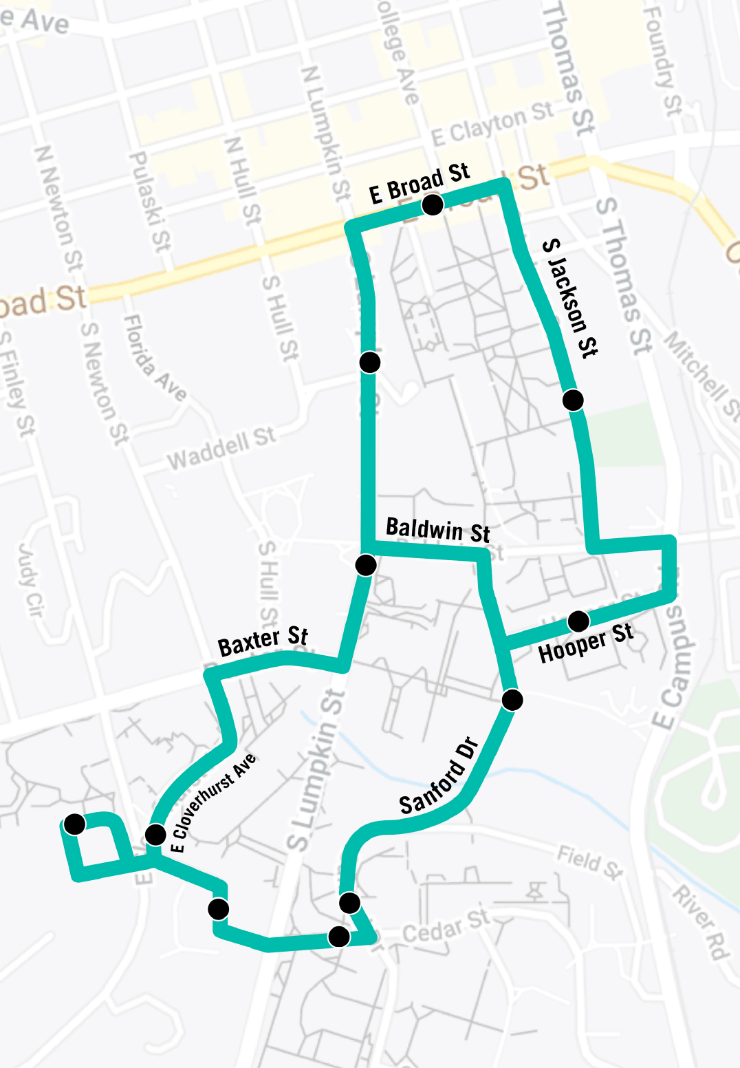 Map of West Campus Shuttle route.